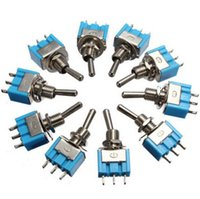 Wholesale 10 High Quality Plastic Toggle Switches10pcs Mini MTS Pin SPDT ON ON A VAC Switches Electrical Supplies