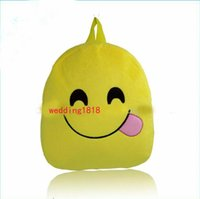 Wholesale Lovely Emoji Smiley kid School Bags children yellow backpack new style for hot selling Christmas gift