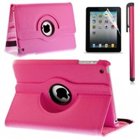 Wholesale 3 in Set Rotating Leather Case Smart Cover For ipad ipad mini air Screen Film Protector Stylus Touch Pen