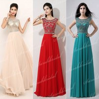Vintage aqua stock - AJ006 In Stock US Standard Size Actual Image Scoop Full Beaded Top Red Champagne Aqua Chiffon Crystal Prom Dresses Evening Gown SSJ
