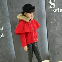 Wholesale Autumn winter new baby girls clothes Red cotton Cape coat thicker fur collar clothing age Y kids