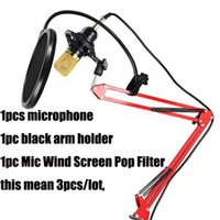 screen wire - 1pc New USB Condenser Sound Recording Microphone pc Adjustable Metal Scissor Arm Microphone Stand Holder pc Mic Wind Screen Pop Filter
