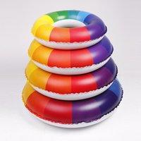 Wholesale 2015 new rainbow inflatable swim ring mm PVC strengthening environmental protection plastic children s life buoy