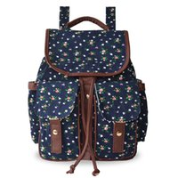 Wholesale 2016 New Spring Korean Style Cotton Fabric Canvas Blue Foral Drawstring Day Backpack For Girl