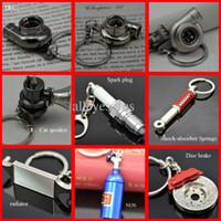alloy car radiators - Hot sale Turbo Shock Absorber radiator disc brake pill case spark plug car speaker Keychain Key Chain Ring Key Fob Keyring