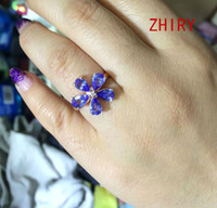 tanzanite ring - blue Tanzanite ring real sterling silver natural gems Gift gold plated rings wedding engagement ZHIRY BRAND