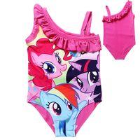 Wholesale 2015 My Little Pony One piece Swimwear Baby Girls Fashion Summer Cartoon Ruffle beachwear Tops girls swimming costumes Kids Beach Supplies
