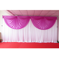 Wholesale 1PCS M M Light Violet Pleated Ice Silk Swag Drape With White Backdrop Curtain For Wedding Use