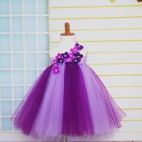 Cheap Children's Special Occasions Elegant Mix Color Girl's Dress Handmade Flower Girls Fluffy Tutu Dresses For Birthday Photo props Size 2T-8Y