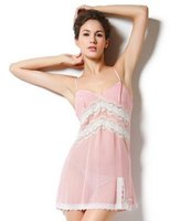 Wholesale Silk tracksuit sexy lace stitching silk pajamas sling Lingerie Women