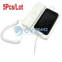 Wholesale 5Pcs Retro Corded Cell Phone Mobile Phone Handset Speaker for For iPhone G White TK0696