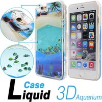 aquarium covers - 2016 For Iphone Case New Aquarium Liquid Dynamic Hybrid Fish Case Colorful Sea Fish Back Cover Plastic Case Retail Package