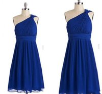 Cheap 2015 Royal Blue A-Line Bridesmaid Dresses One Shoulder Ruched Sleeveless Knee Length Party Gowns Cheap Simple Short Formal Dress