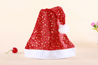 christmas fabric - 2015 Hot Christmas Hat Pleuche fabrics hats Santa Caps MERRY CHRISTMAS SANTA CLAUS HAT CAP EMS Fast Ship