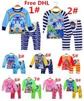 Cheap 100% Cotton Baby Suits 2PCS Clothing Set Long Sleeve Tshirt+Pants Outfits Set Baby Cartoon Pajamas Via DHL
