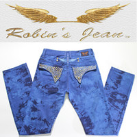 branded jeans - 2015 New Robin Jeans Men s Slim Denim Famous Brand Robins Jeans With Wings American Flag Diamonds Jeans Plus Size Blue