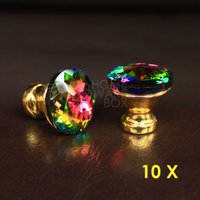 base cabinets drawers - 30mm crystal drawer knobs cabinet pull handle glass diamond multi rainbow color golden base
