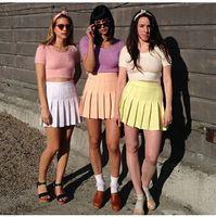 american apparel purple - 2015 American Apparel Street Fashion Woman Lady High Waist Ball Tennis Pleated Skirt XS L White Black Red Pink Yellow
