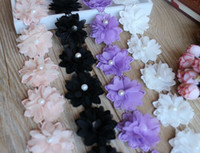 pearl trim - 2 meters Flower with pearl beads watersoluble with Chiffon d flower lace trim ribbon for hair or decoration SSHB