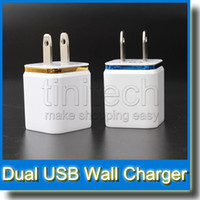 Wholesale Dual USB Wall Charger Home Travel adapter V A US EU Metal AC Power Adapter Ports Plug for iPhone iPad Samsung