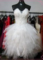 Wholesale Real New Sexy Ball Gown White Cocktail Dresses Strapless Short Tulle Feathers Beads Pageant Dresses for Women Dresses