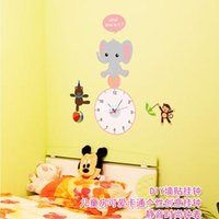baby bear stickers - Wall stickers home decoration SA baby elephant Bear and Little Monkey Cute Animal Wall Stickers practical timepiece wall stickers