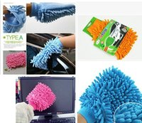 Wholesale Single side microfiber chenille glove dust removing gloves cleaning car