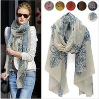white silk scarf - cheap scarves High quality Blue and White Porcelain Style chiffon Silk Shawl for women