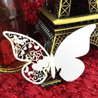 champagne flutes - New Wine Glass Cards Wedding Party Decorations Wine Glass Markers Wedding Cake Toppers name card butterfly laser Cut Card Escort Card CPA312
