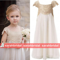 Wholesale 2016 Vintage Flower Girl Dresses for Bohemian Weddings Cheap Floor Length Cap Sleeve Empire Champagne Lace Ivory First Communion Gowns Sale