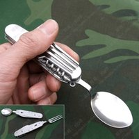 Wholesale Full metal multifunctional folding spork outdoor travel cutlery portable small knife bottle opener tool