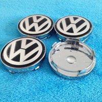 Wholesale 4pcs set mm VW Jetta Golf Volkswagen Emblem full chromed Wheel Hub Center Caps Covers