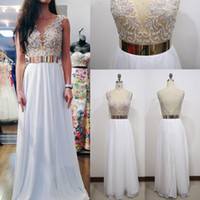 Wholesale Major Beading Chiffon Prom Dresses Long Illusion Open Back Evening Party Gowns Applique Floor Length Special Occasion Dressess