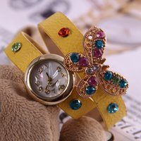 antique butterfly table - European and American fashion student table authentic Korean female fashion bracelet watch retro Sen female butterfly rhinestone