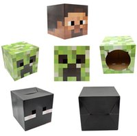 Wholesale Minecraft Creeper Mask Cartoon Steve Zombie Box Heads Toys Suit For Using Minecraft Sword Pickaxe Foam for Party Masks Paper Model
