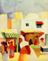 One Panel august marketing - August Macke painting for sale Abstract art oil Canvas Market in Tunis I hand painted High quality