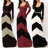 floor length maxi dress - New Spring Girl Women Printing Striped Casual Dress Long Sleeve Womens Dress Vestidos Para Festa Floor Length Long Maxi Dresses SV001602