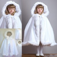 Wholesale New Arrival Warm Hooded Children s White Satin Flower Girl Wedding Cloak With Faux Fur Trim Tea Length Winter Kid Long Wraps Jacket