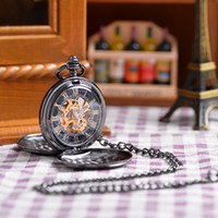 antique black glass - 2015 Popular Unisex Antique Case Pocket Watch Vine Mechanical Hand Wind Pocket Watch Double Open Unique Relogio