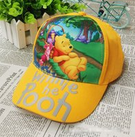 Wholesale Baby baseball hats cartoon Winnie the Pooh Children peaked cap adjustable hats yellow green suitable for years old children cm pc