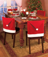 Wholesale Christmas Decorations Red Christmas Hat Chair Covers Christmas Supplies Santa Clause Cap Covering For Christmas Dinner GOR