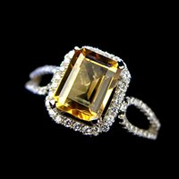 Cheap Special offer free shipping natural AAA citrine topaz ring women jewelry inlaid 925 sterling silver micro-level party multicolored gift