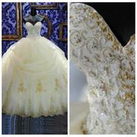 al por mayor vestidos de quinceañera de oro-2017 16 Años Vestido Vestidos de Baile Vestidos de Quinceañera Apliques de Encaje Organza Oro Rebordeados Sequined Masquerade Debutante Vestidos Por encargo