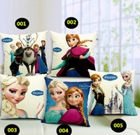 Wholesale 5 cm Cartoon Cotton Linen Pillow Cases D Animated Film Frozen Cushion Covers Kinds Optional