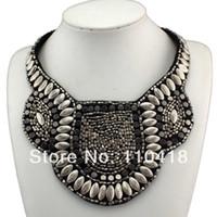 al por mayor collar de estilo egipcio-El collar hecho a mano del estilo nacional egipcio de los granos de plata de la manera, mujeres viste los accesorios de la joyería, # 707