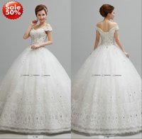 ball racks - 2015 Lace Wedding Dresses Bridal Gown With Ball Gown Off Shoulder Beads Crystals Corset Back Floor Length Off The Rack Gown Real Image