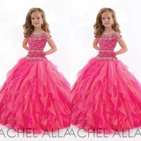 Wholesale 2015 Best Seller Girls Pageant Dresses Cute Jewel Cap Sleeves Shinning Beading Bodice Soft Tulle Custom Made Ball Gowns for Little Girls