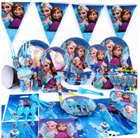 Wholesale 2014 New Luxury Kids Birthday Decoration Set Frozen ELSA ANNA Theme Party Supplies Baby Birthday Party Pack