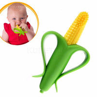 Wholesale Infant Banana and Corn Toothbrush Eco friendly Silicone Bendable Training Baby Healthy Care Green With Retail Packing