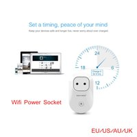 Wholesale Hot Sale Wifi Remote Control Power Socket Switch Wireless Plug Socket EU AU US UK Timer Switch Wall Plug Top Quality free shippi